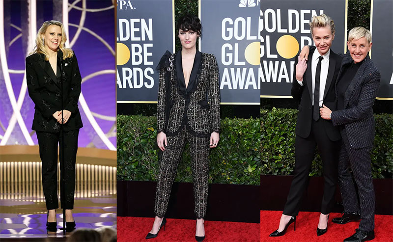 Lady tuxedos at 2020 Golden Globes