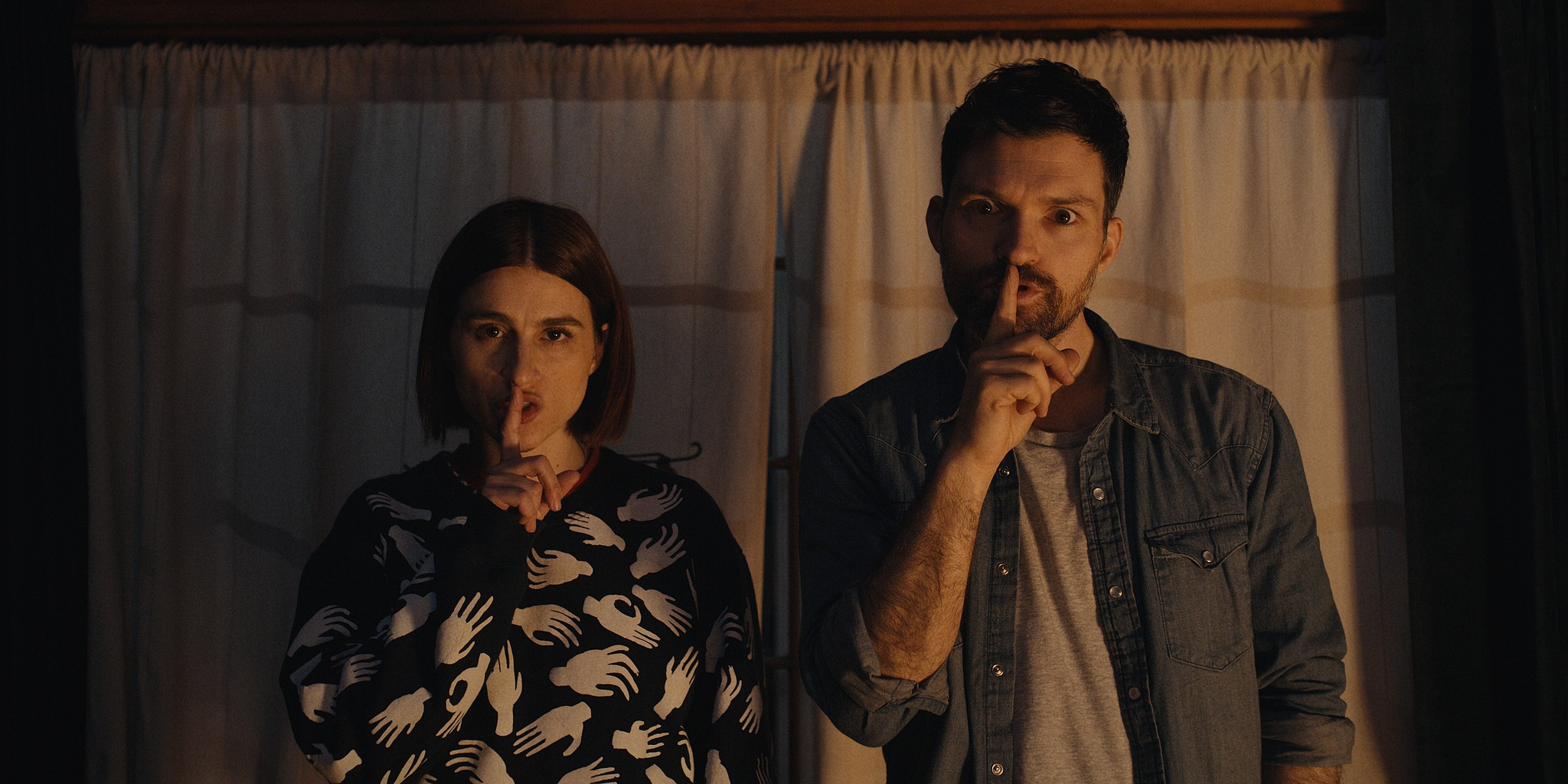 Aya Cash and Josh Ruben in Scare Me